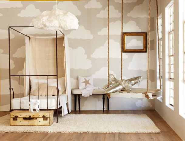 Love the into the sky theme... especially the very cool gold airplane swing. A #CanDoBaby! fave.