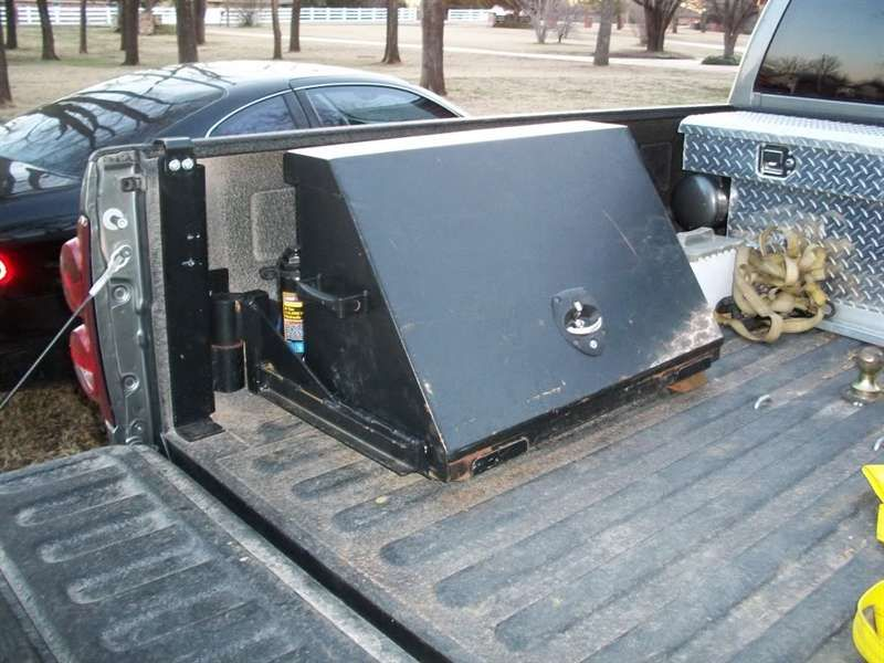 Swinging tool box for trucks