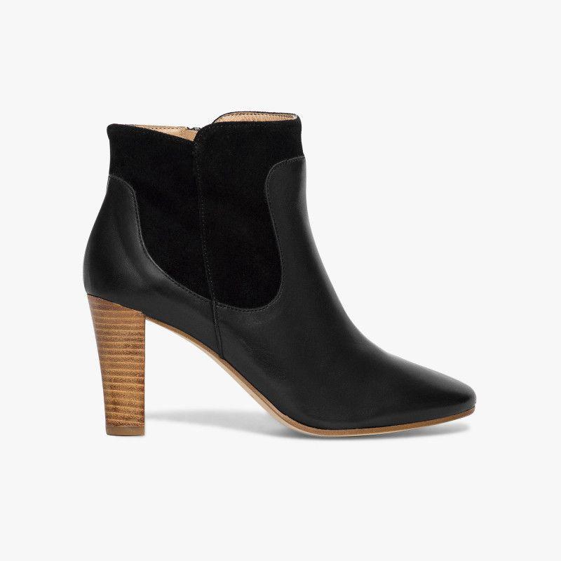 Boots noir talon haut Un boots très élégant et féminin avec son mélange de  matières cuir f83c8874a7c4
