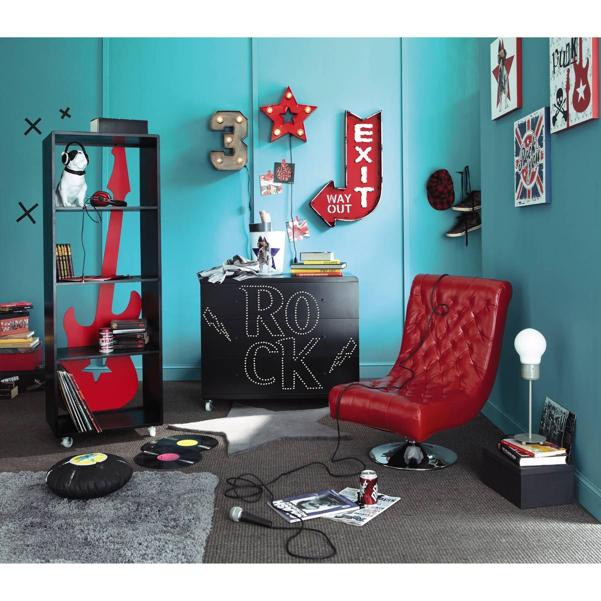 Etagère guitare rouge  Maisons du Monde  Chambre garcon moderne
