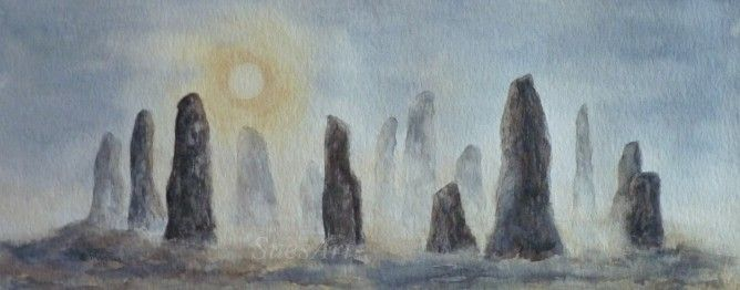 Sue Massey - STONE CIRCLE, Standing Stones, Watercolour, fantasy, misty…