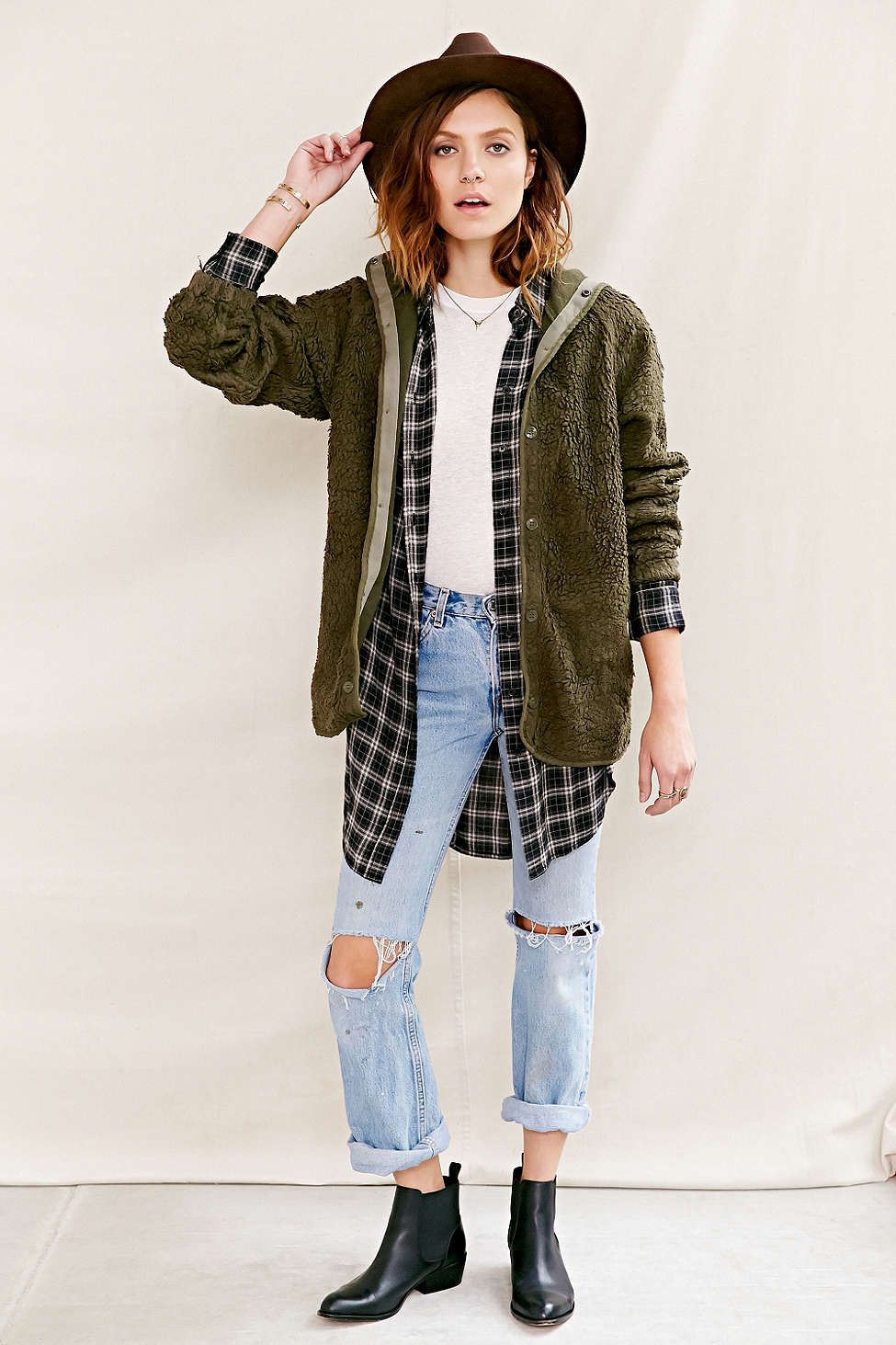Flannel outfits for women  Urban Renewal Vintage Hooded French Liner Jacket  outfits to