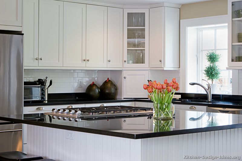Traditional White Kitchen Cabinetslove The Beadboard And Dark Amusing Traditional White Kitchen Cabinets Inspiration Design