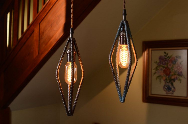 Industrial Rebar Pendant Light in Rubbed Blue Finish