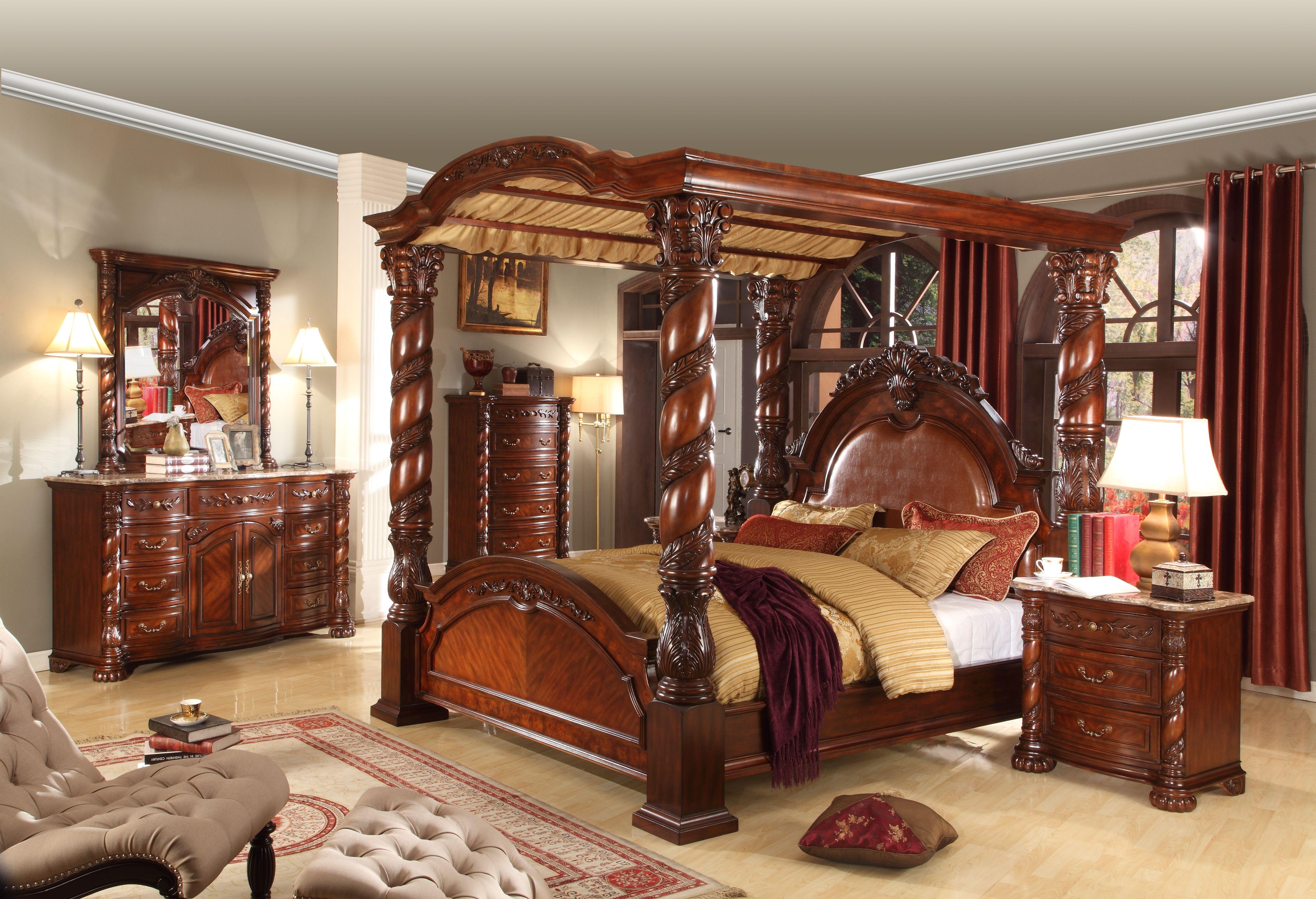 Mcferran Furnishings Canopy Bedroom Set Solid Hardwood And