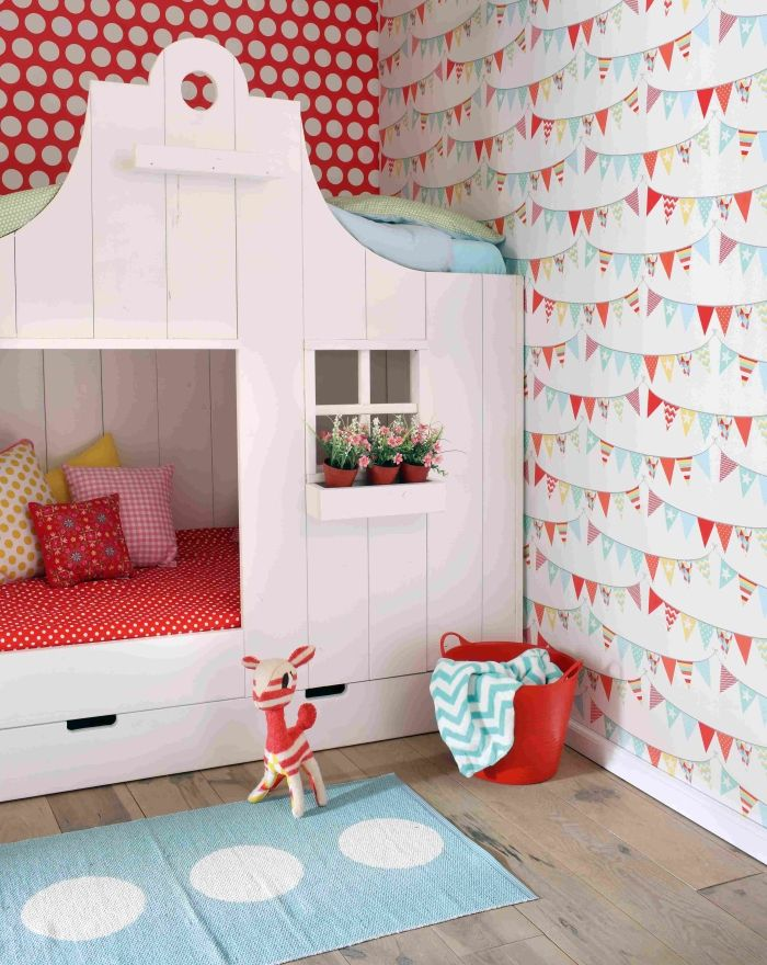 vliestapete 39 xl punkte 39 rot wei kindertapeten f r m dchen pinterest kinderzimmer bett. Black Bedroom Furniture Sets. Home Design Ideas