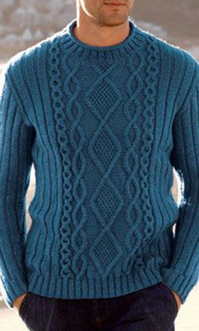 Men S Hand Knitted Crewneck Sweater 17b Tejido De Punto Knitting