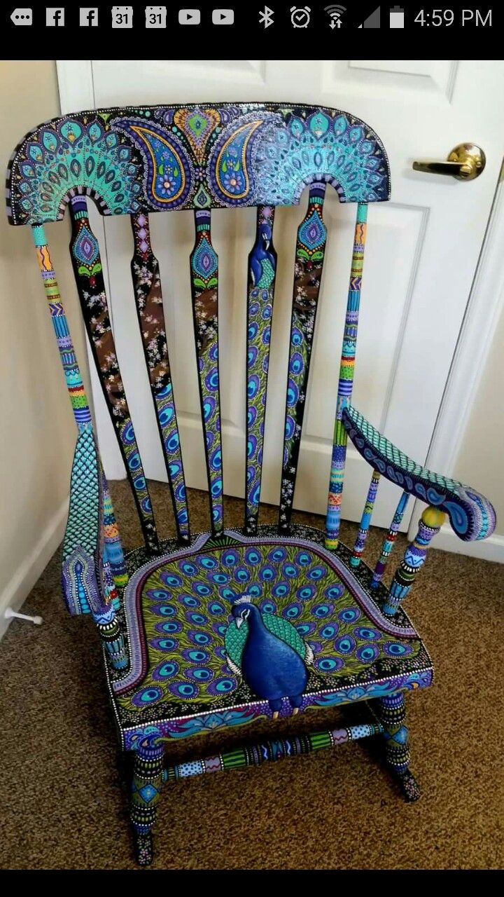 Hand painted peacock rocking chair  Craftgift ideas in