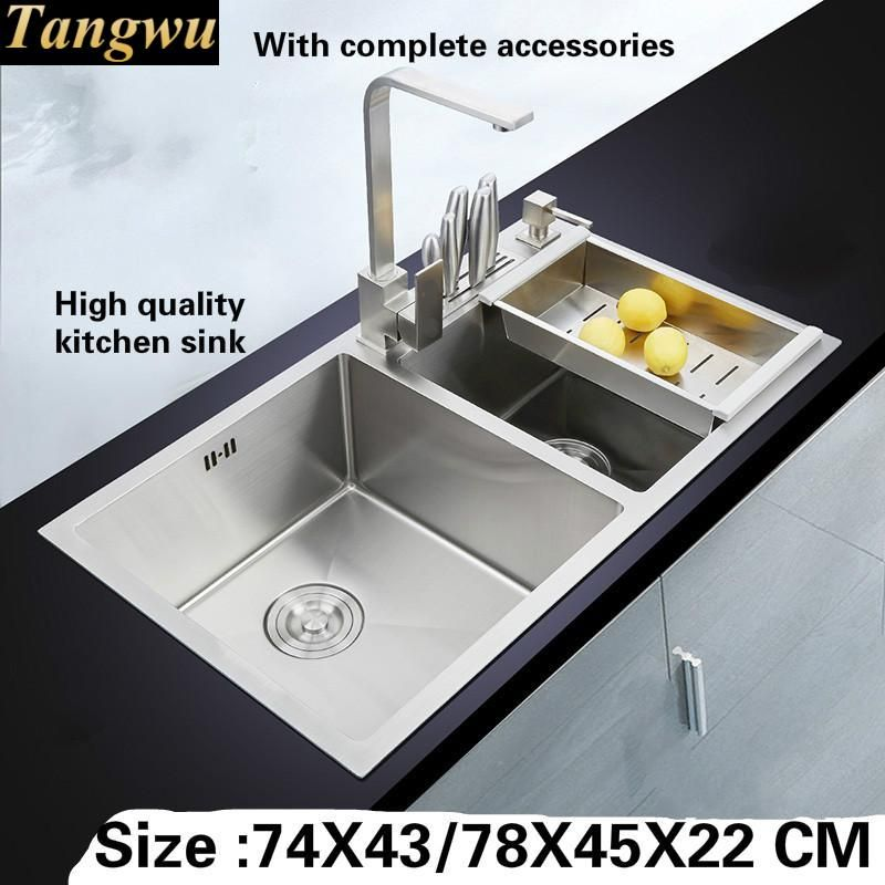 Tangwu Handmade big double slot 4 mm thick high-grade kitchen sink ...