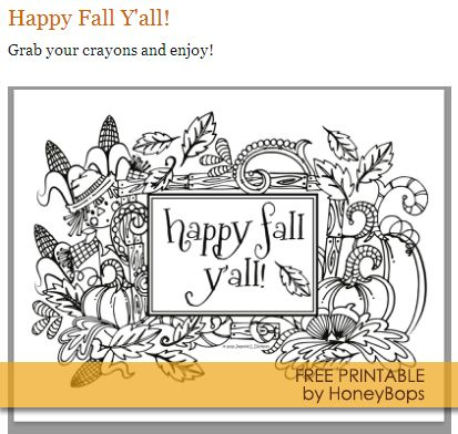 Free #Fall #Printable #Coloring Sheet by HoneyBops ...