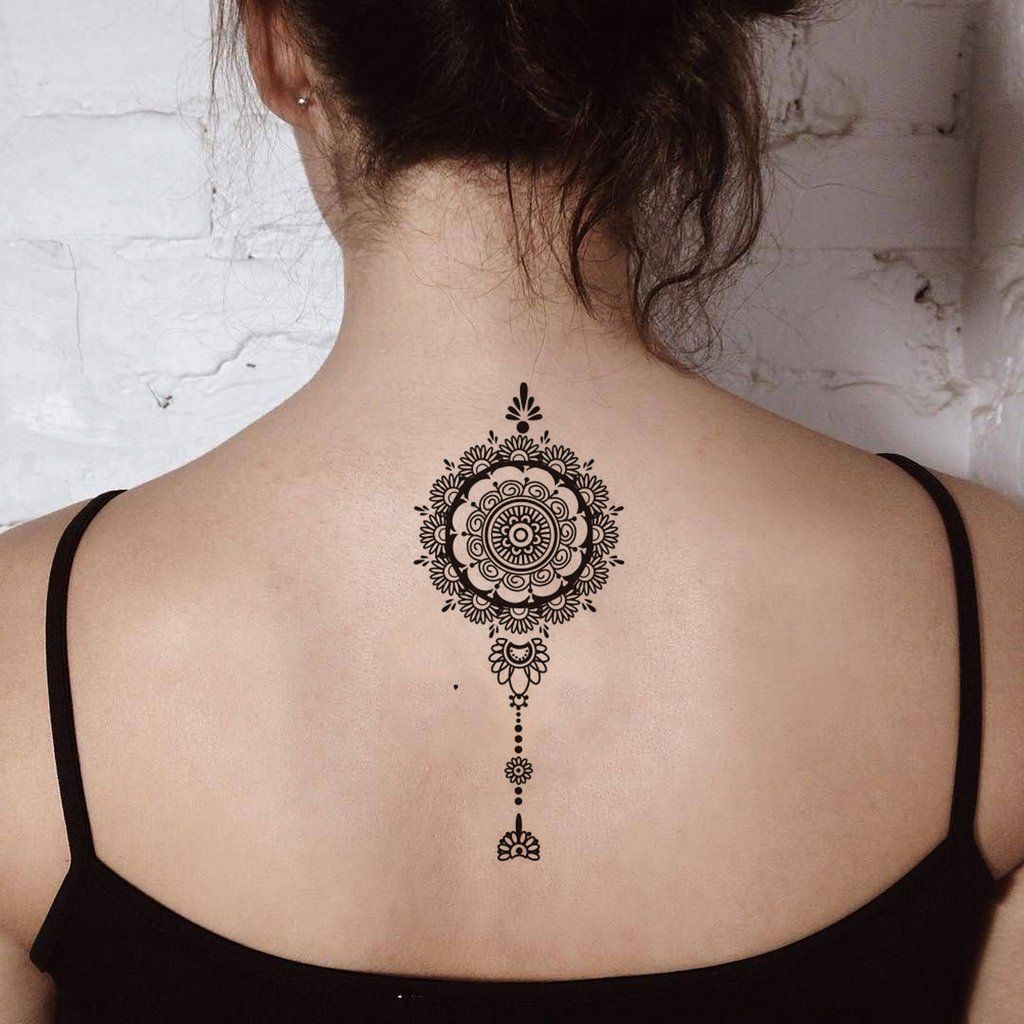 Henna Tattoo Back Spine: Tribal Black Henna Mandala Back Spine Tattoo Ideas For
