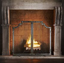 Hammered Rivet Tiered Flat Double Door Screen Fireplace Screens