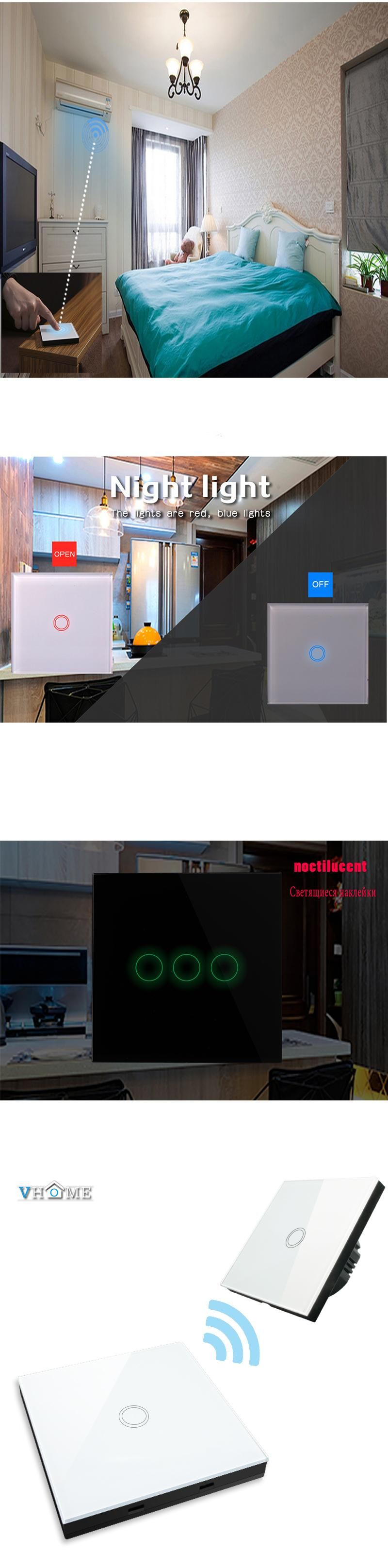 glstouch light gang parts switch full glass way white touch rf panel crystal