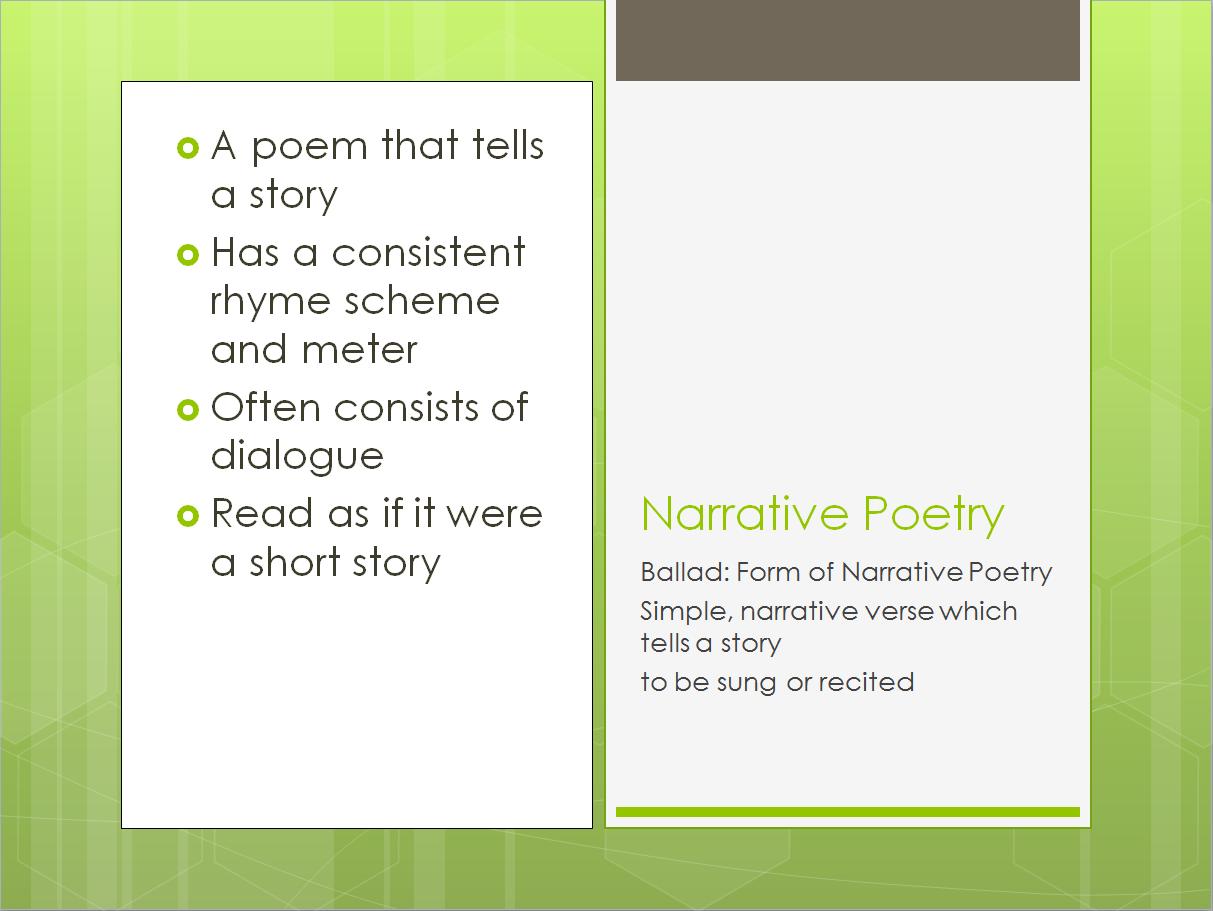 Narrative Poem Definition For Kids