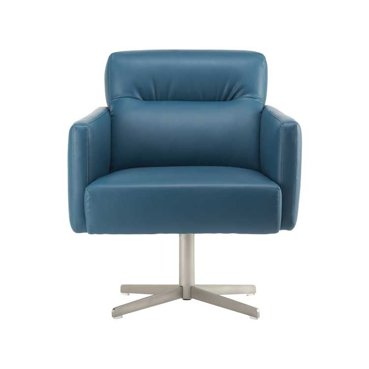 Juno Swivel Chair In Azure Next Leather Kasala Shades