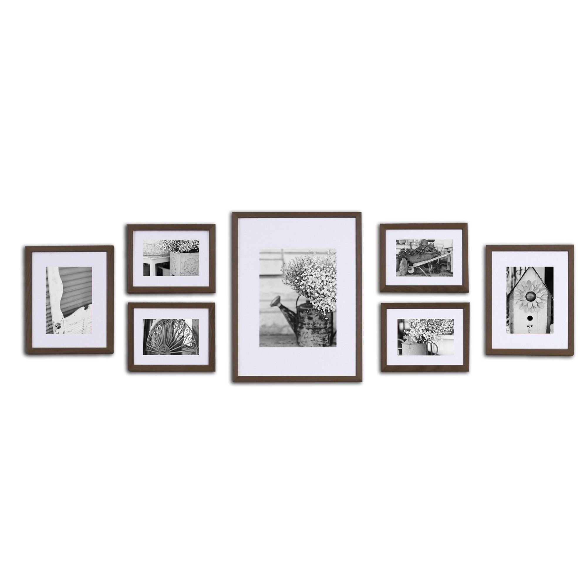 Features solid wood 7 piece wall frame set with usable artwork pinnacle black solid wood wall frame kit black solid wood wall frame set with usable artwork includes frames matted to 2 jeuxipadfo Images