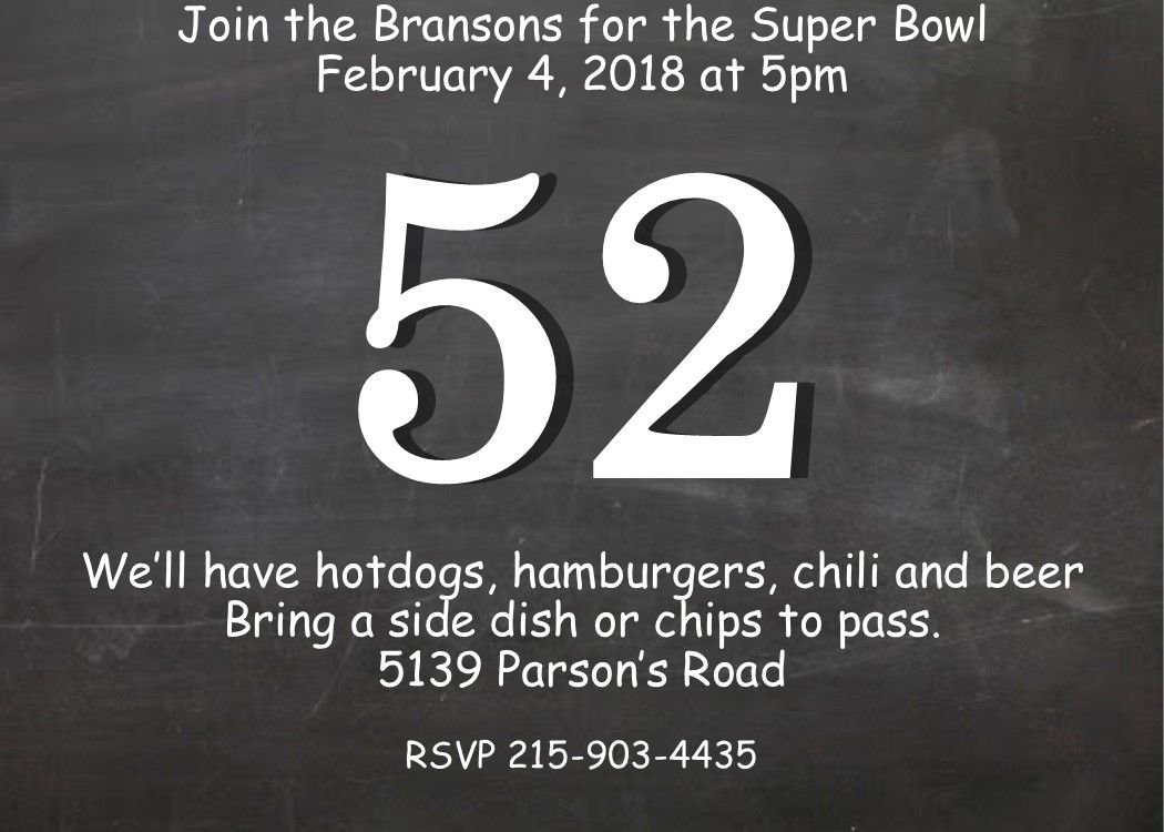 football chalkboard superbowl party invitations   Super Bowl Party ...