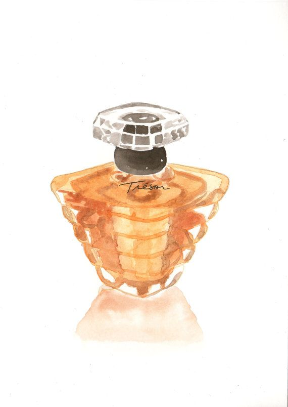 Perfume And Water Tattoo: Lancome Trésor Parfum Fragrance Watercolor Perfume By
