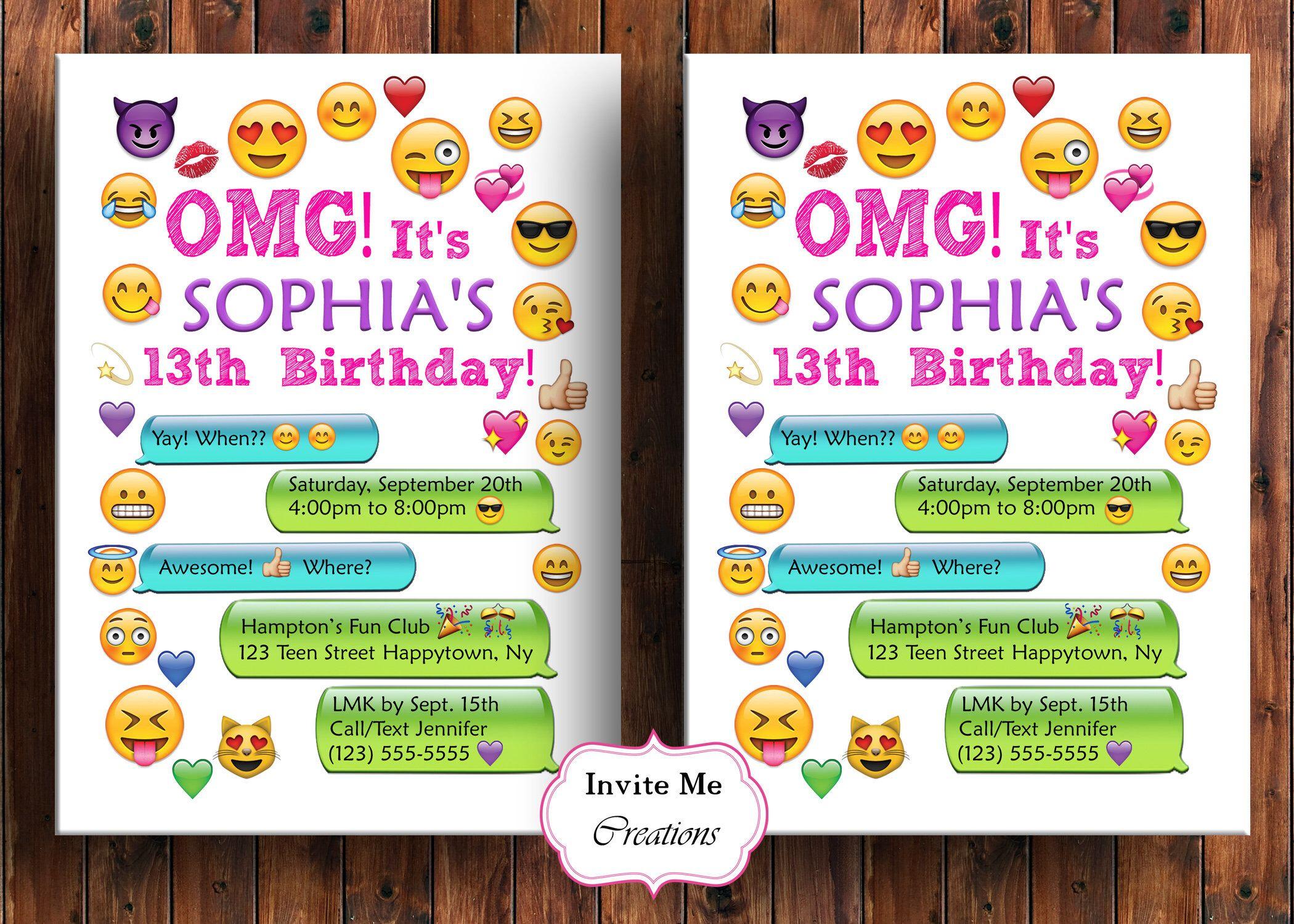 Emoji Birthday Invitation, Emoji Invite, Girl, Personalized ...