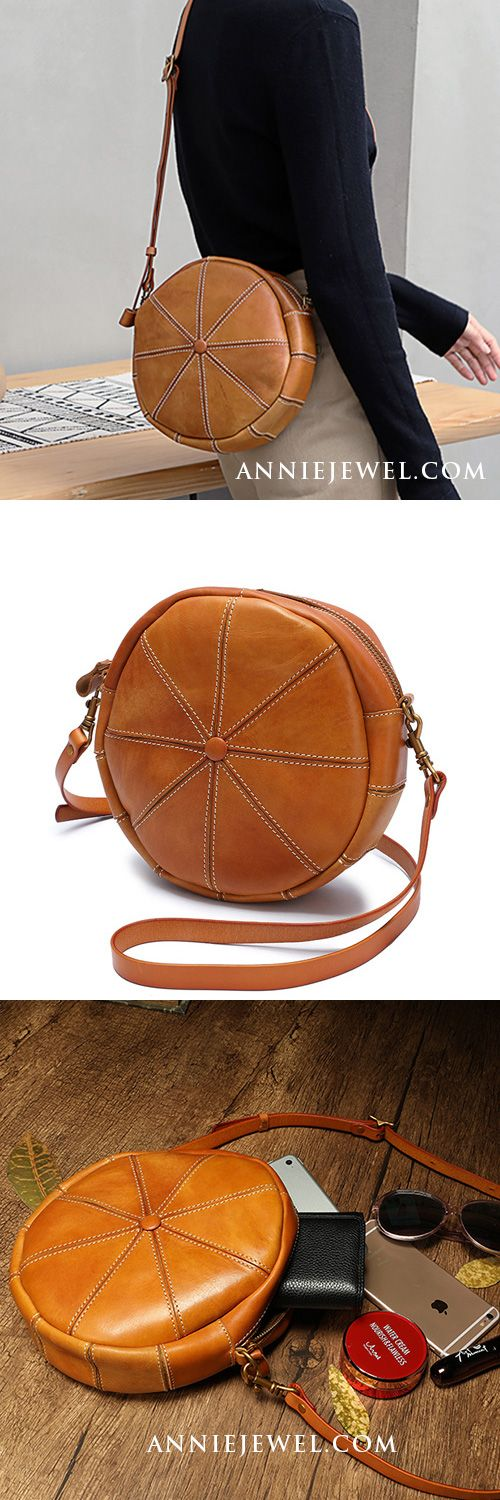 Round Shaped Purses Leather Circle Bag Round Crossbody Purse