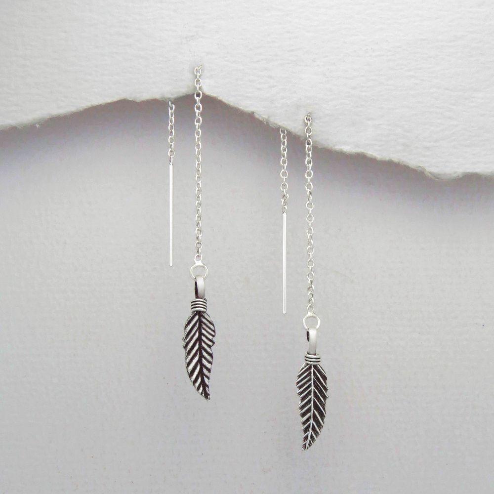 925 Sterling Silver Feather Pull Through Ear Thread Threader