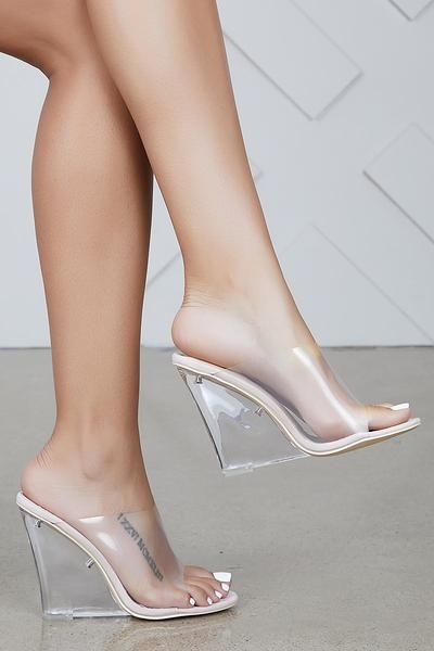 69390e59bb Transparent Wedge Heels (Nude) | Women Fashion in 2019 | Shoes ...