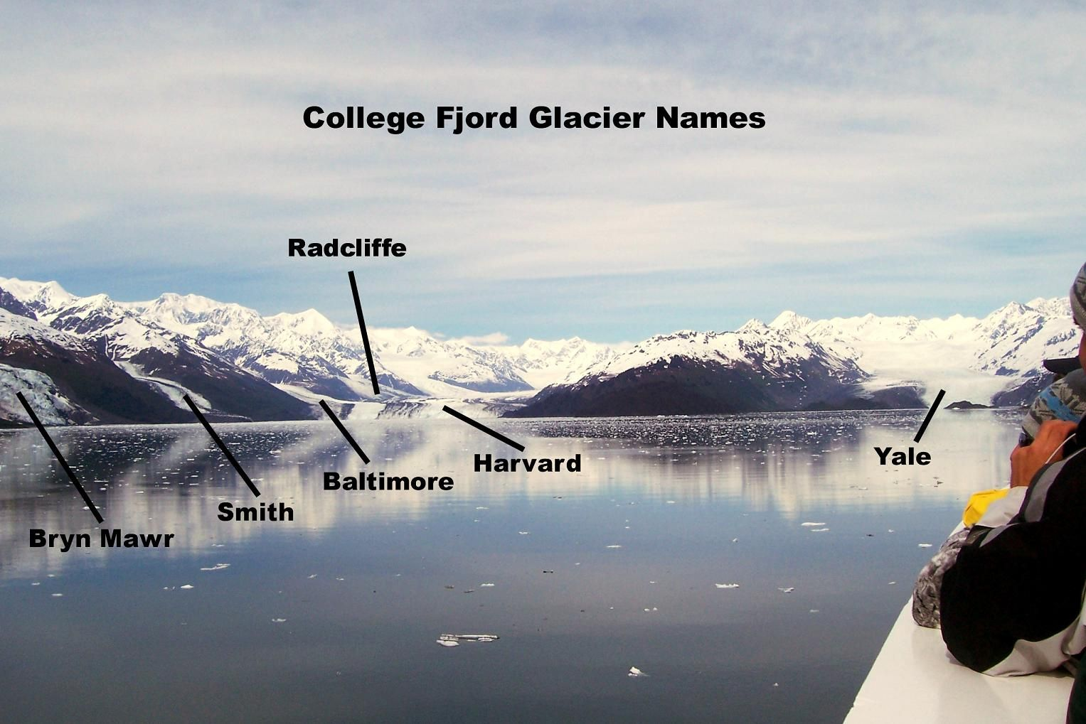 College+Fjord+Map | In a closer picture, Yale Glacier shows signs