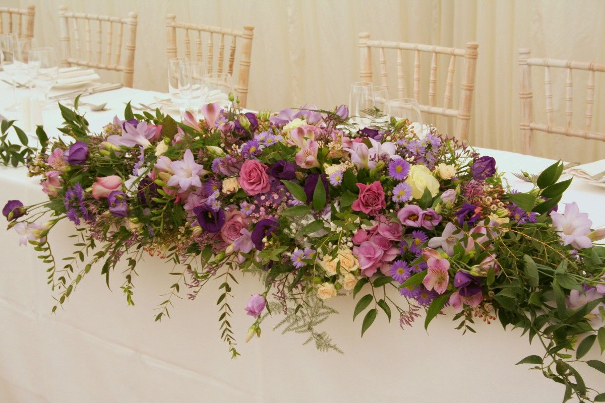 Pink Purple And Lilac Top Table Arrangement Florales Mesa