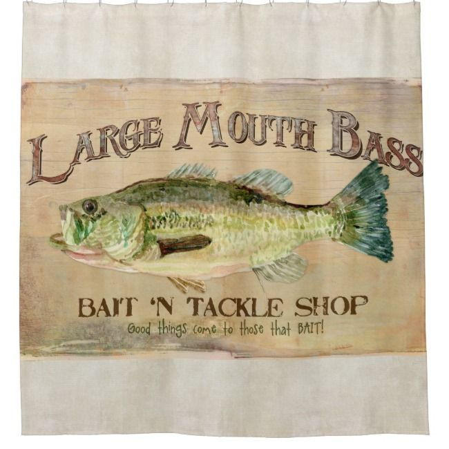 Fishing Themed Shower Curtains.Large Mouth Bass Lake House Cabin Fishing Decor Shower