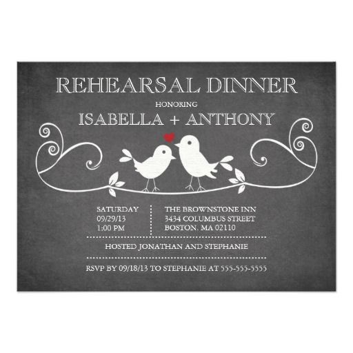 Vintage Chalkboard Love Birds Rehearsal Dinner Announcements