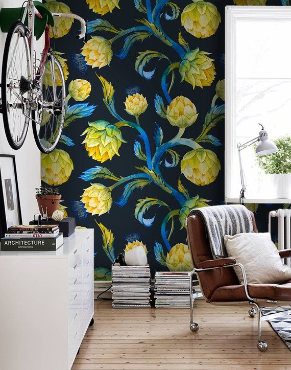 Nouveau Artichoke Removable Wallpaper Blue And Yellow Wall Mural