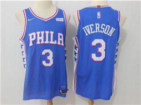 63a58adce309 Philadelphia 76ers  3 Allen Iverson Blue Authentic Jersey