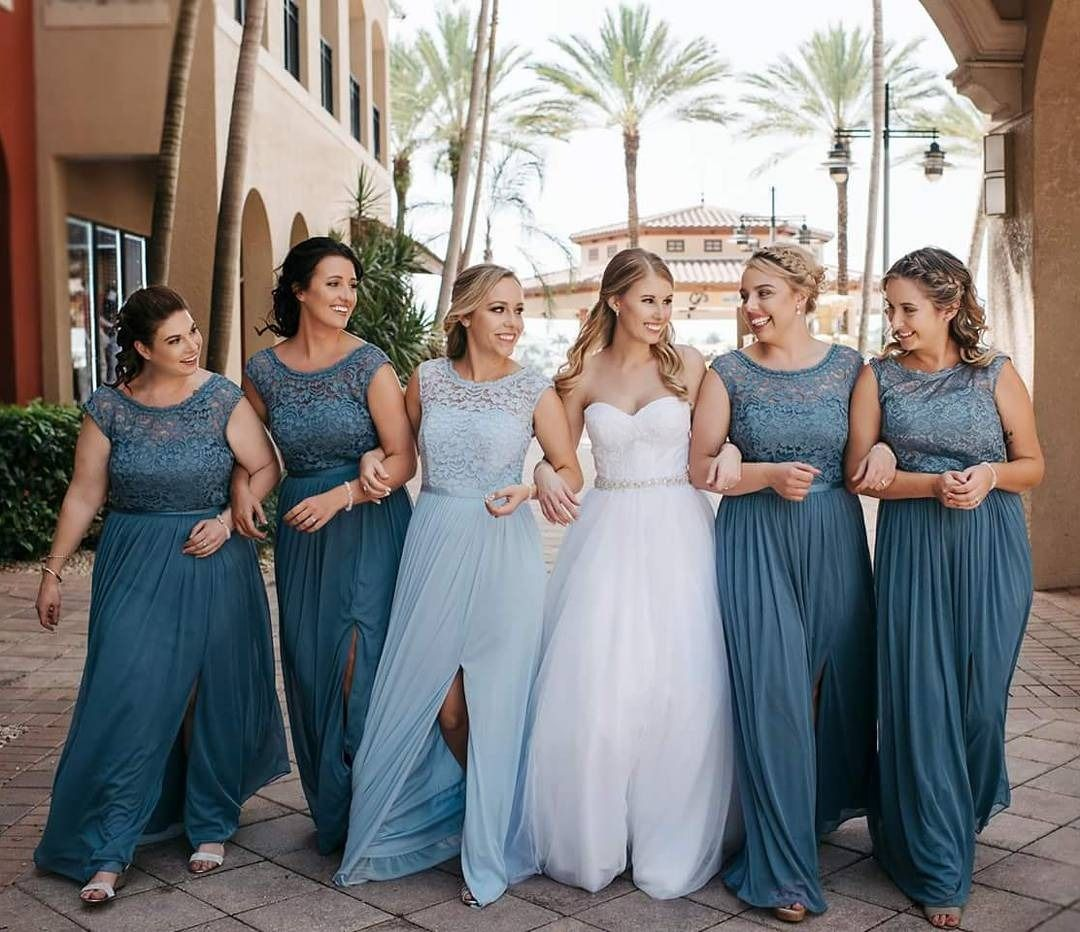 Shades Of Blue Bridesmaid Dresses By David S Bridal Steel And Ice Tank Lace Illusion Dress Photo Via Instagram