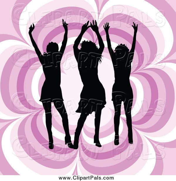 Female Silhouetted Women Dancing On A Reflective Gray Ray Background