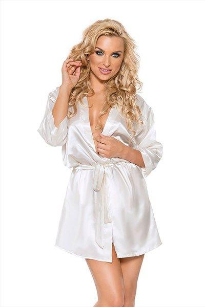 6251378061e Witte satijnen kimono | Willie.nl Deze witte kimono heeft een satijnen  structuur en voelt daardoor zacht aan. De mouwen zijn kort en hebben een  grote ...