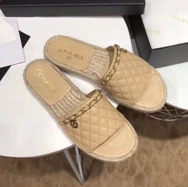 eb749a9e9ffd Chanel Espadrilles Quilted Lambskin Slide with Chain Apricot ...