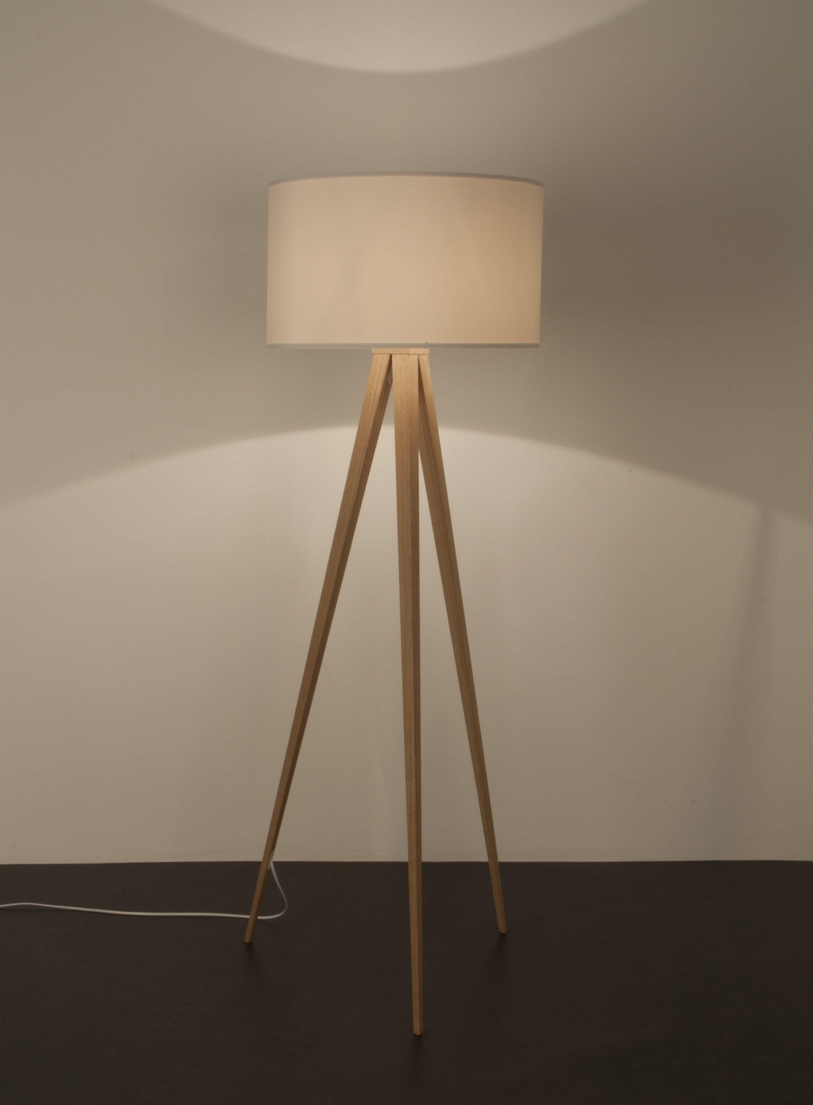 Zuiver   Tripod Wood Gulvlampe   Hvid   Gratis Fragt