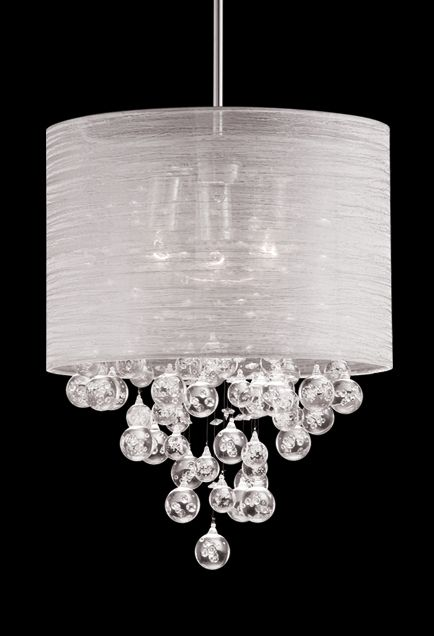 Pendant With Drops Of Clear Crystal Balls With Bubbles Inside - Chandelier with crystals and drum shade