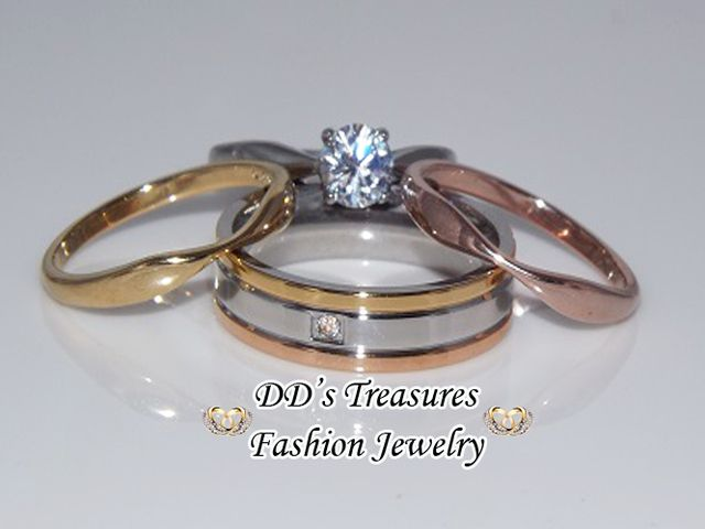 4 Piece His Her Stainless Steel Wedding Ring Set Starting at 10