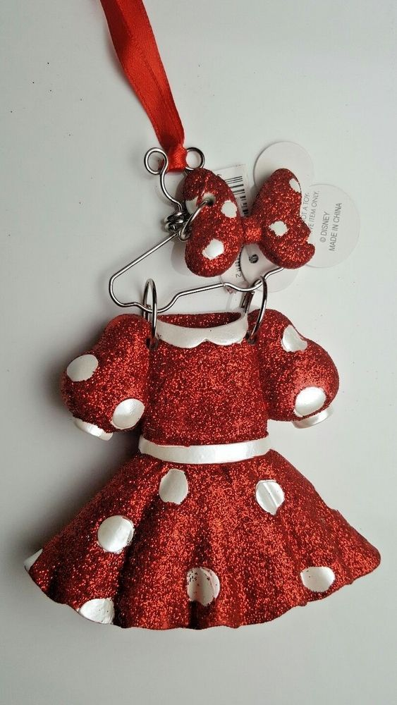 disney parks christmas ornament minnie mouse dress outfit costume hanger glitter disneyparks christmas