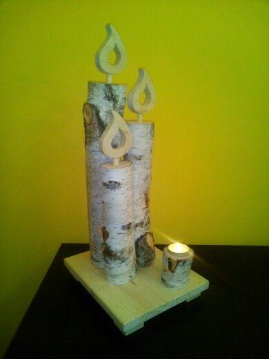 Candele di legno di betulla con porta lumino casa - Candele decorative ikea ...