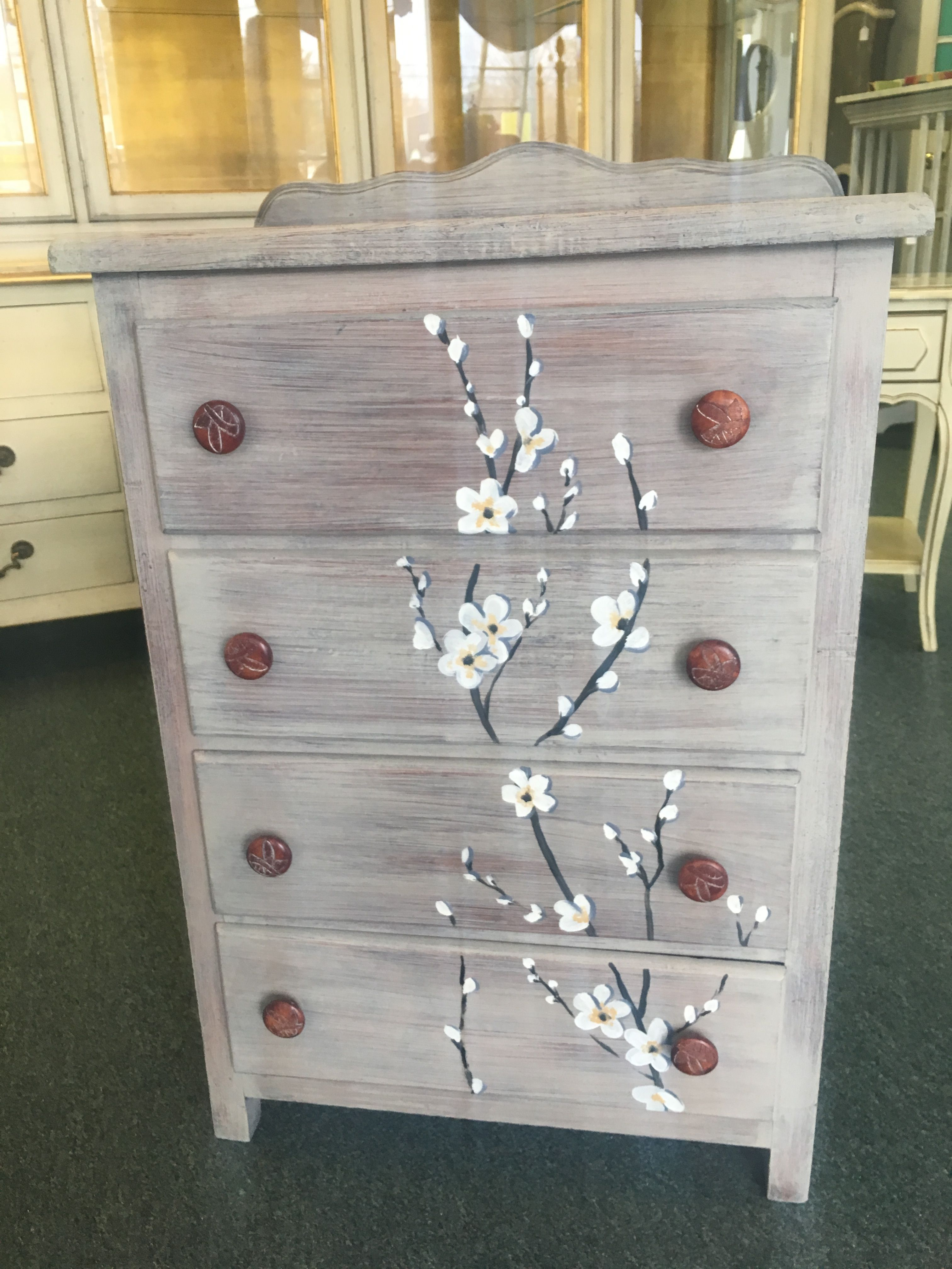 Simple Small Dresser Painted With Chalk Paint Coco Hand Painted Flowers Small Dresser Chalk Paint Hand Painted Flowers