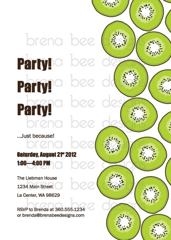Kiwi Birthday/Picnic/Summer/Reunion Invitation by brenabeedesigns, $10.00
