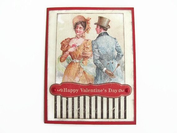 Vintage Valentines Day Card, Happy Valentines Day, Love, Red