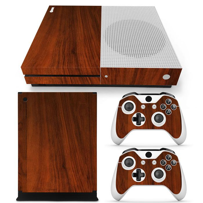 Xbox one s console skin decal sticker wood brown finished custom design set zoomhit