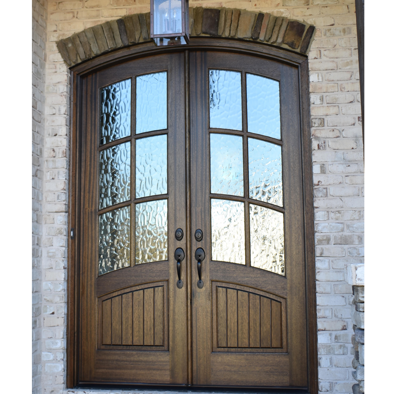 Florencia V Groove Mahogany 6 Lite Arch Top Double Entry Door Double Entry Doors Entry Doors Doors