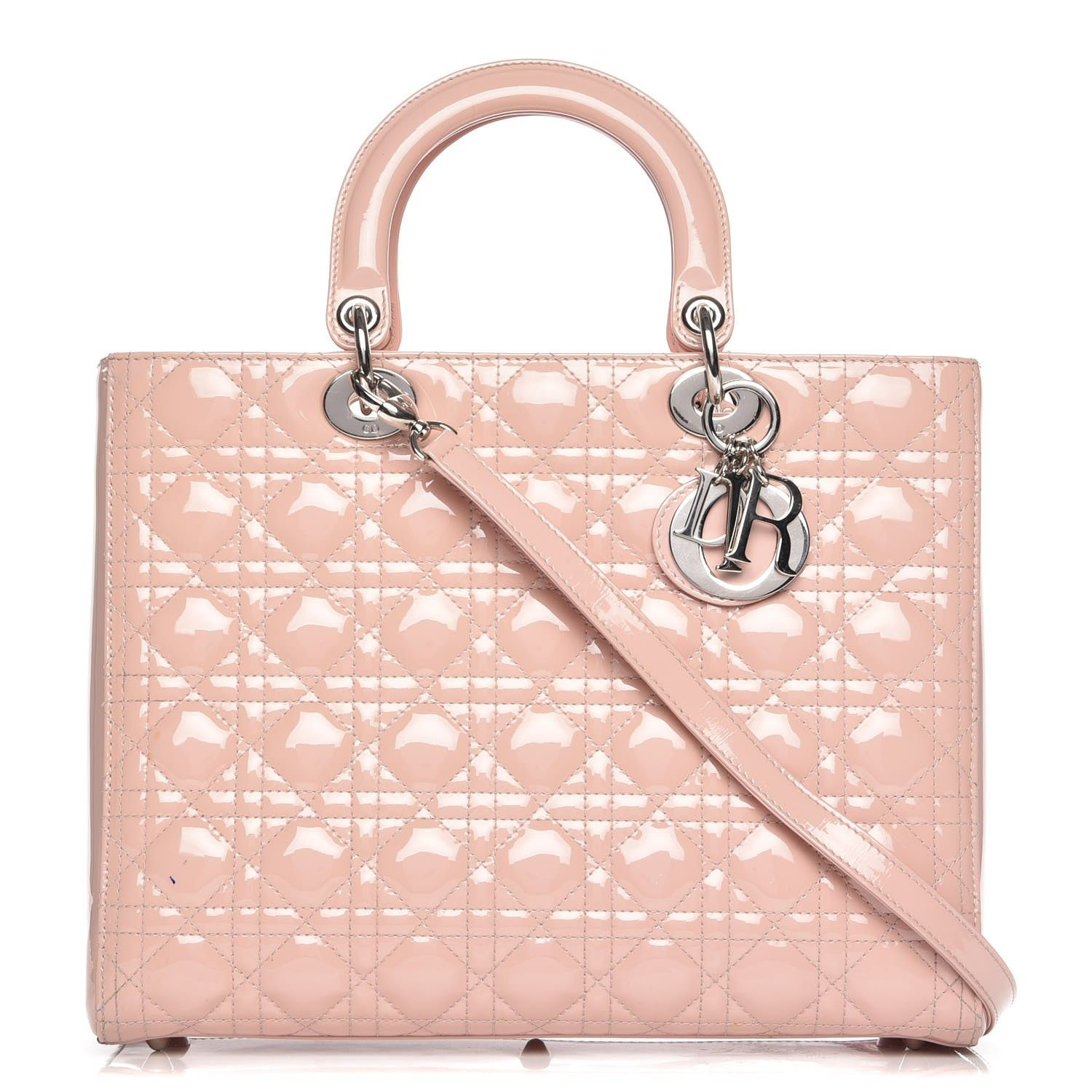 0b303fcaba3d This is an authentic CHRISTIAN DIOR Patent Cannage Large Lady Dior in Light  Pink. This