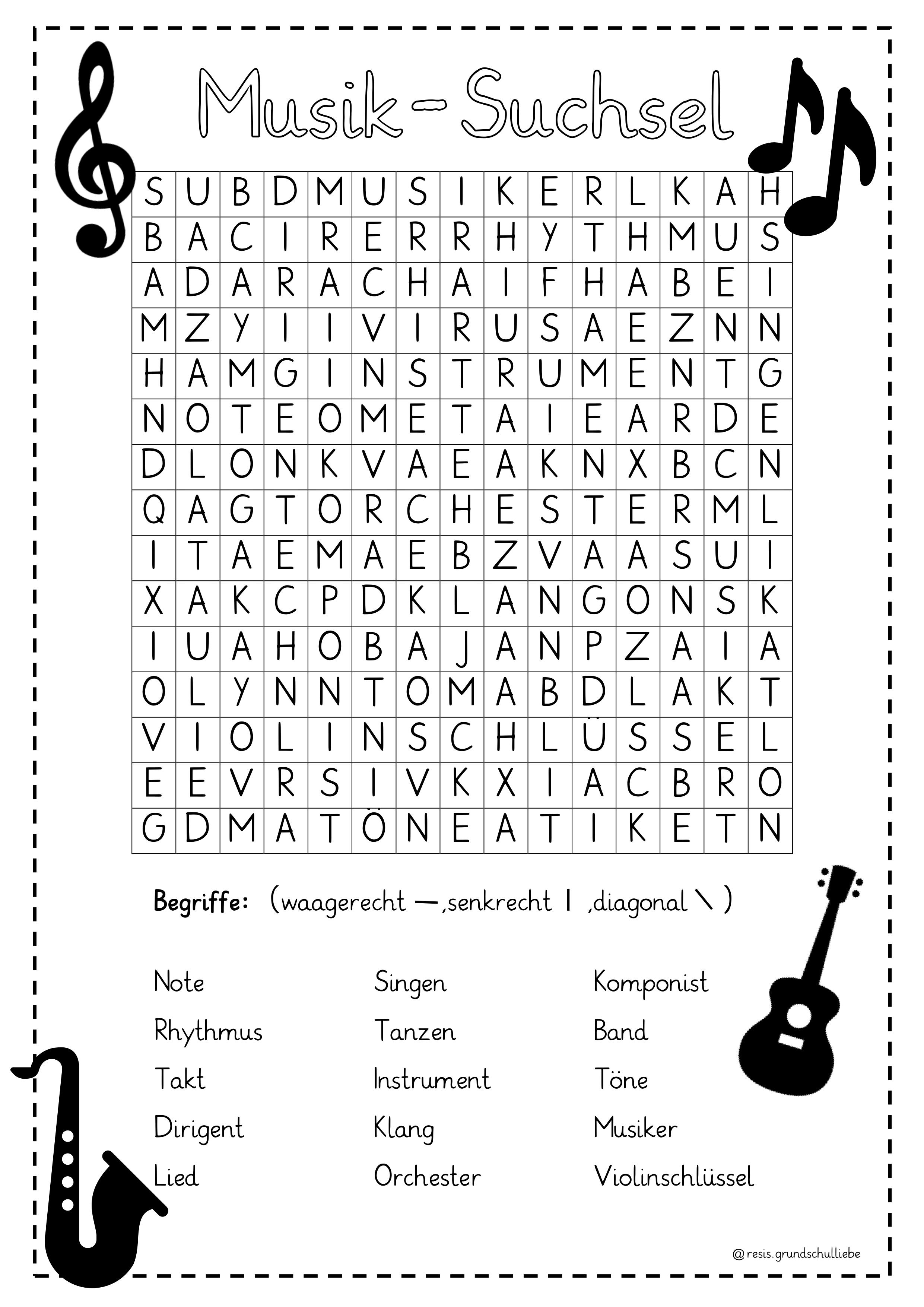 Musik   Suchsel/ Buchstabengitter – Unterrichtsmaterial im Fach ...