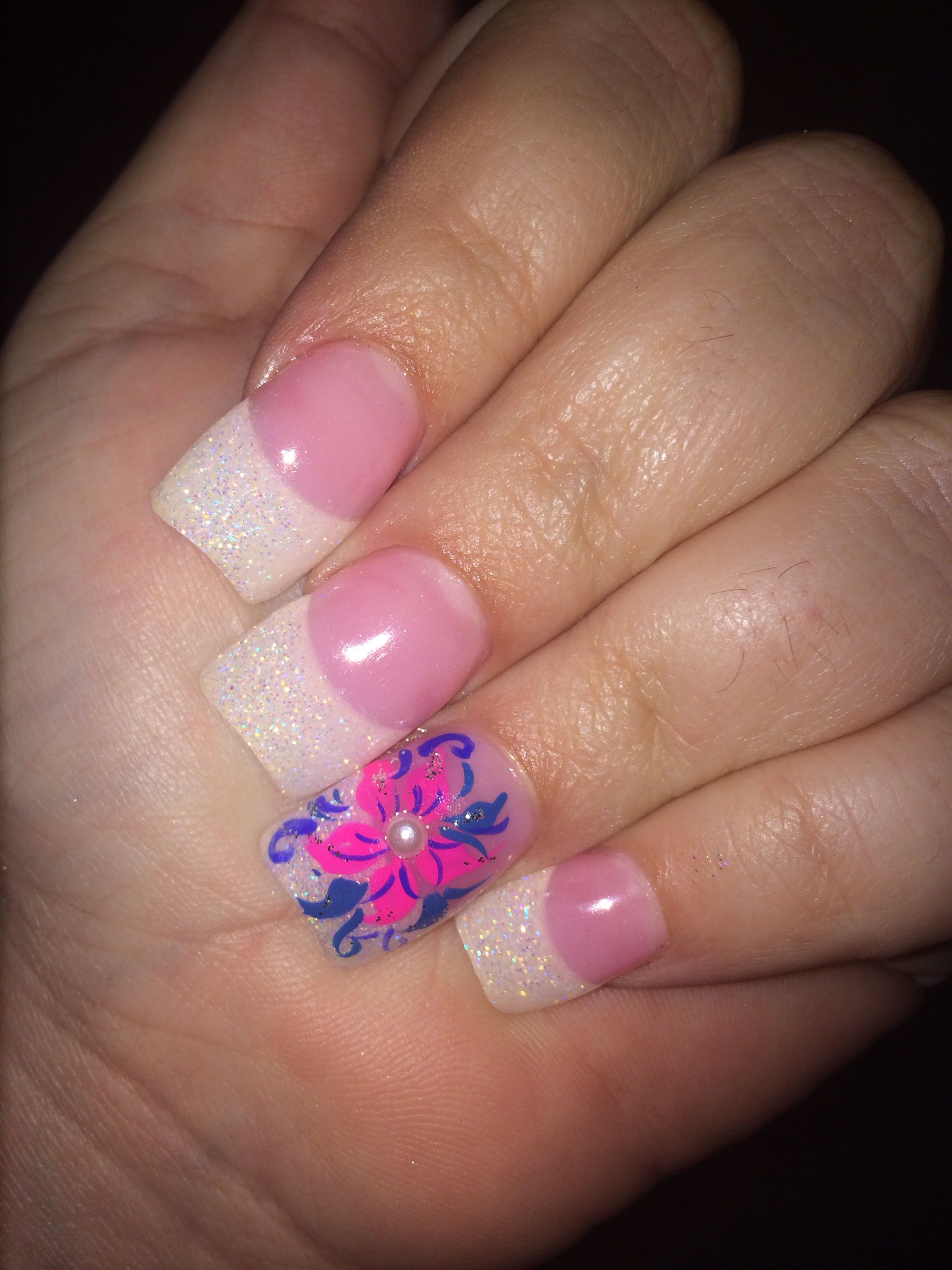 Pink Flower Nail Design Pink And White French My Nail Art
