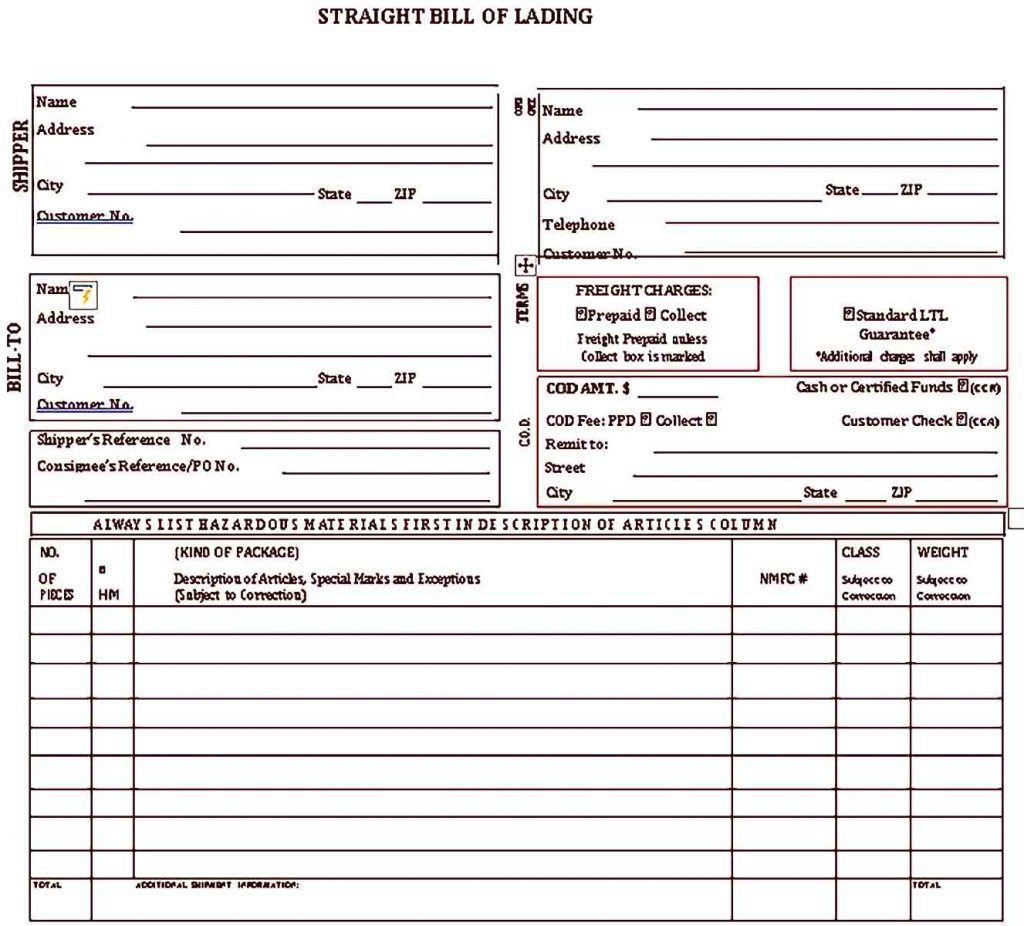 Avrt Bol Sample Templates Bill Of Lading Templates Business Template